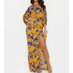 PRETTY LITTLE THINGS Blue & Yellow Maxi Dress